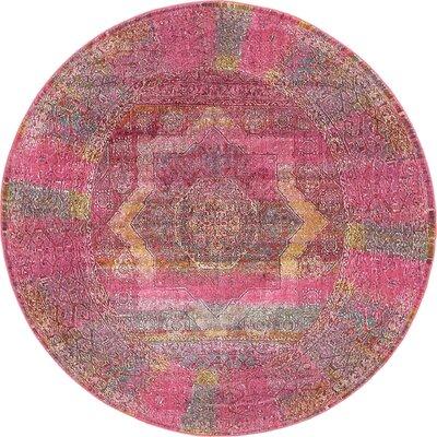 Regina Pink Area Rug Rug Size: Round 84