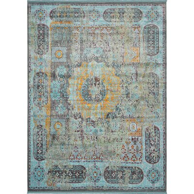 Lonerock Blue/Yellow Area Rug Rug Size: Rectangle 55 x 8