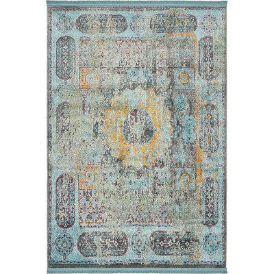 Lonerock Blue/Yellow Area Rug Rug Size: Rectangle 43 x 6