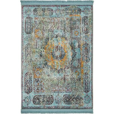 Lonerock Blue/Yellow Area Rug Rug Size: Rectangle 22 x 3