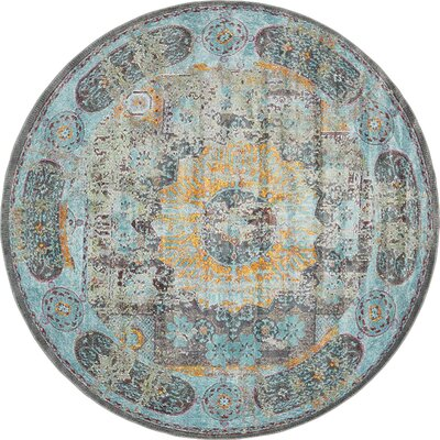 Lonerock Blue/Yellow Area Rug Rug Size: Round 8'2