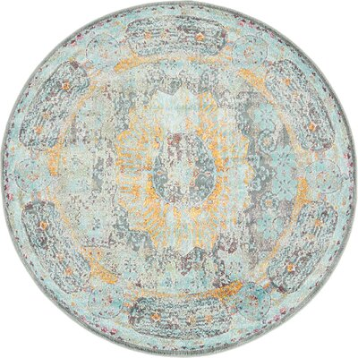 Lonerock Blue/Yellow Area Rug Rug Size: Round 55