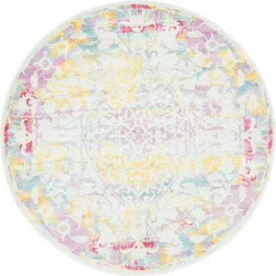 Lonerock European Blue/Pink Area Rug Rug Size: Round 55