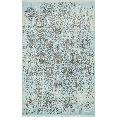 Lonerock European Light Blue Area Rug Rug Size: Rectangle 55 x 8