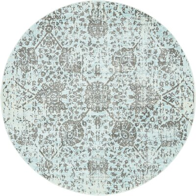 Lonerock European Light Blue Area Rug Rug Size: Round 55