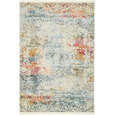 Lonerock Cream/Blue Area Rug Rug Size: Rectangle 43 x 6