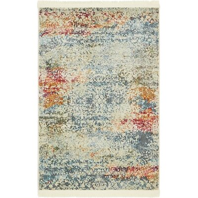 Lonerock Cream/Blue Area Rug Rug Size: Rectangle 22 x 3