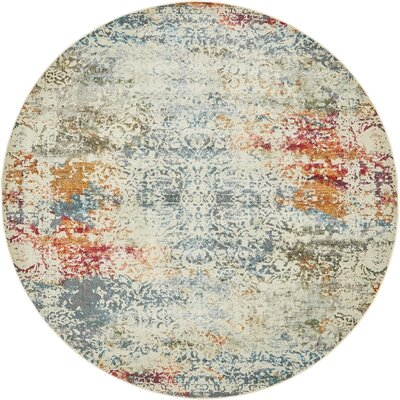 Lonerock Cream/Blue Area Rug Rug Size: Round 84