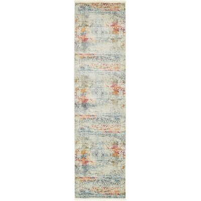 Lonerock Cream/Blue Area Rug Rug Size: Runner 27 x 10