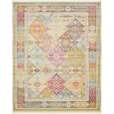 Regina Pink/Olive Area Rug Rug Size: Rectangle 84 x 10