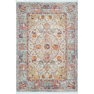 Lonerock Aqua/Yellow Area Rug Rug Size: Rectangle 43 x 6