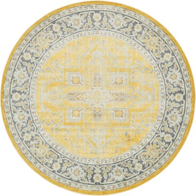 Lonerock Yellow Area Rug Rug Size: Round 84