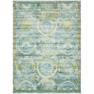 Lonerock Green/Light Blue Area Rug Rug Size: Rectangle 10' x 13'