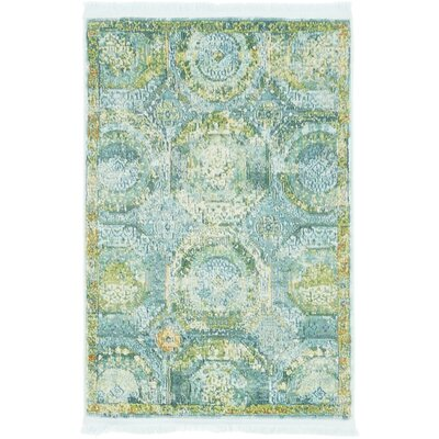 Lonerock Green/Light Blue Area Rug Rug Size: Round 84