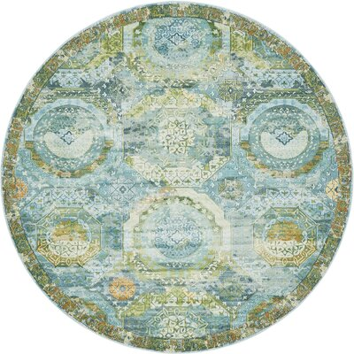 Lonerock Green/Light Blue Area Rug Rug Size: Round 8'4