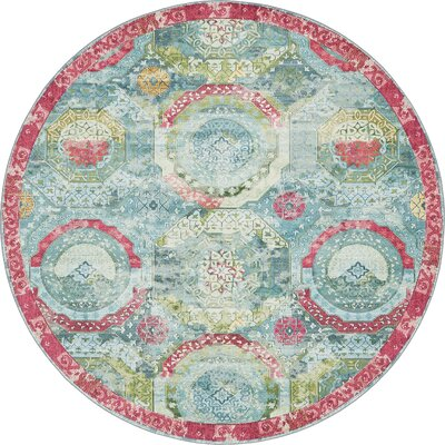 Lonerock Turquoise/Pink Area Rug Rug Size: Round 84