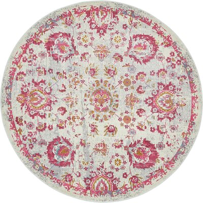 Lonerock Smooth European Pink Area Rug Rug Size: Round 55
