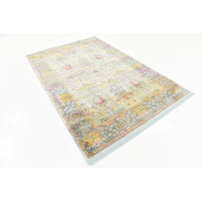 Regina Green/Yellow Area Rug Rug Size: Rectangle 55 x 8