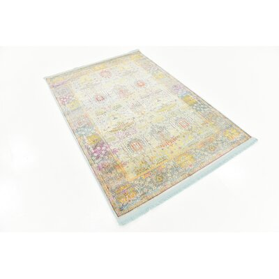 Regina Green/Yellow Area Rug Rug Size: Rectangle 43 x 6