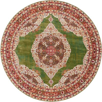 Lonerock Green/Red Area Rug Rug Size: Round 84