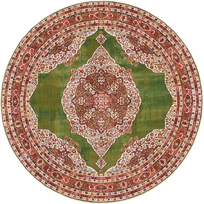 Lonerock Green/Red Area Rug Rug Size: Round 55