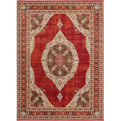 Lonerock Red Area Rug Rug Size: Round 84