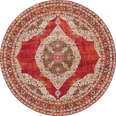 Lonerock Red Area Rug Rug Size: Round 8'4