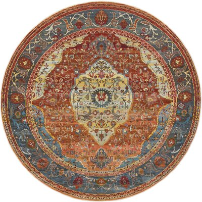 San Marcos Rust Red Area Rug Rug Size: Round 55