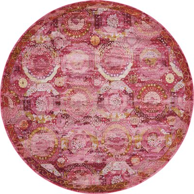 Lonerock Pink Area Rug Rug Size: Round 84