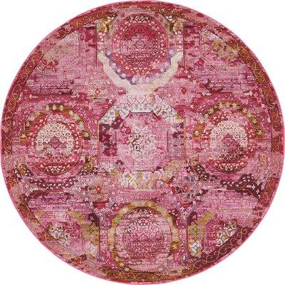 Lonerock Pink Area Rug Rug Size: Round 55