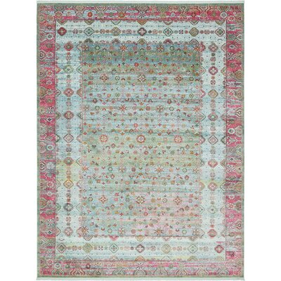 Lonerock European Pink/Teal Area Rug Rug Size: Rectangle 10 x 13