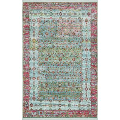 Lonerock European Pink/Teal Area Rug Rug Size: Rectangle 55 x 8