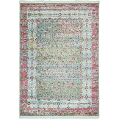 Lonerock European Pink/Teal Area Rug Rug Size: Rectangle 43 x 6