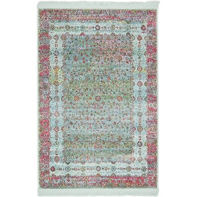 Lonerock European Pink/Teal Area Rug Rug Size: Rectangle 22 x 3