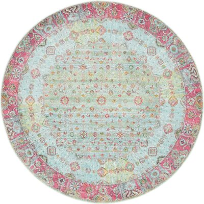Lonerock European Pink/Teal Area Rug Rug Size: Round 55