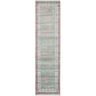 Lonerock European Pink/Teal Area Rug Rug Size: Runner 27 x 10