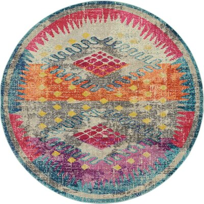 Cassava Purple/Orange/Blue Area Rug Rug Size: Round 8 x 8