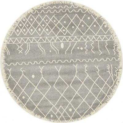 Foxhill Gray Area Rug Rug Size: Round 6