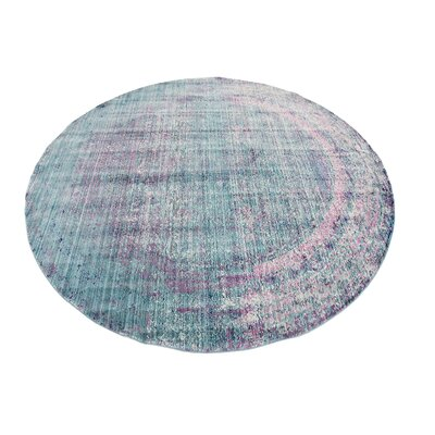 Brixton Green/Purple Area Rug Rug Size: Round 6