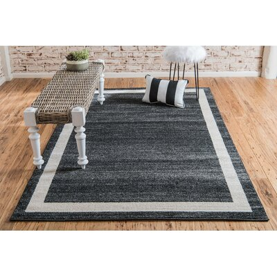 Carson Black/Cream Area Rug Rug Size: Rectangle 7 x 10