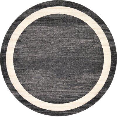 Carson Black/Cream Area Rug Rug Size: Round 6