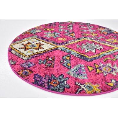 Ariyah Pink Area Rug Rug Size: Round 8'