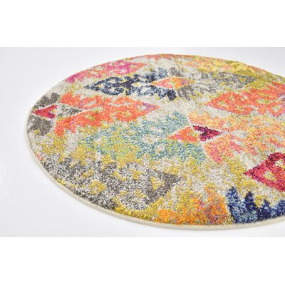 Ariyah Gray/Orange/Yellow Area Rug Rug Size: Round 8 x 10