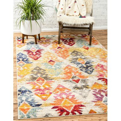 Ariyah Gray/Orange/Yellow Area Rug Rug Size: Round 6