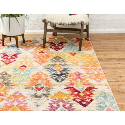 Ariyah Gray/Orange/Yellow Area Rug Rug Size: Rectangle 2 2 x 6 7