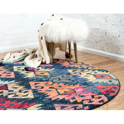 Ariyah Navy/Red Area Rug Rug Size: Round 8 x 8