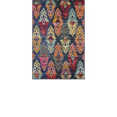 Ariyah Navy/Red Area Rug Rug Size: Rectangle 5 x 8