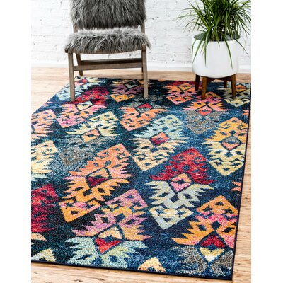 Ariyah Navy/Red Area Rug Rug Size: Rectangle 9 x 12
