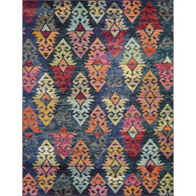 Ariyah Navy/Red Area Rug Rug Size: Rectangle 4 x 6