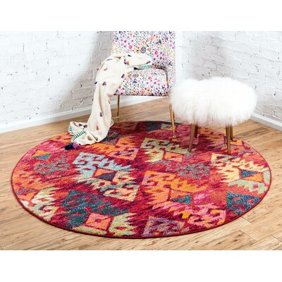 Ariyah Rust Red Area Rug Rug Size: Round 8 x 8